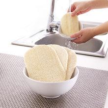 3pcs/set Natural Loofah Dishwashing Cloth Scrub Pad Dish Bowl Pot Easy To Clean Scrubber Sponge Kitchen Clean Brushes Scrub Pad(China)