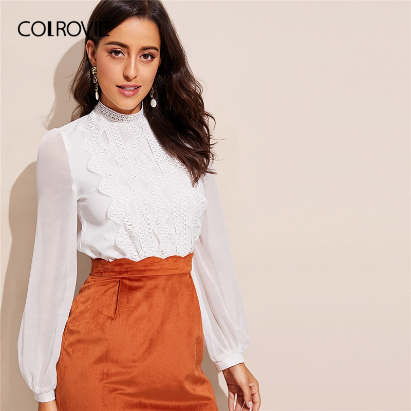 COLROVIE White Stand Collar Lace Trim Bishop Long Sleeve Elegant   Blouse     Shirt   Women 2019 Spring Workwear Office Ladies Tops