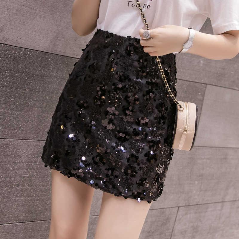 Women Skirt 2019 Summer Skirts Womens Evening Party Night Out Shiny Sequin  Skirt Gold Black Sexy Club Short Mini Pencil Skirt|Skirts| - AliExpress