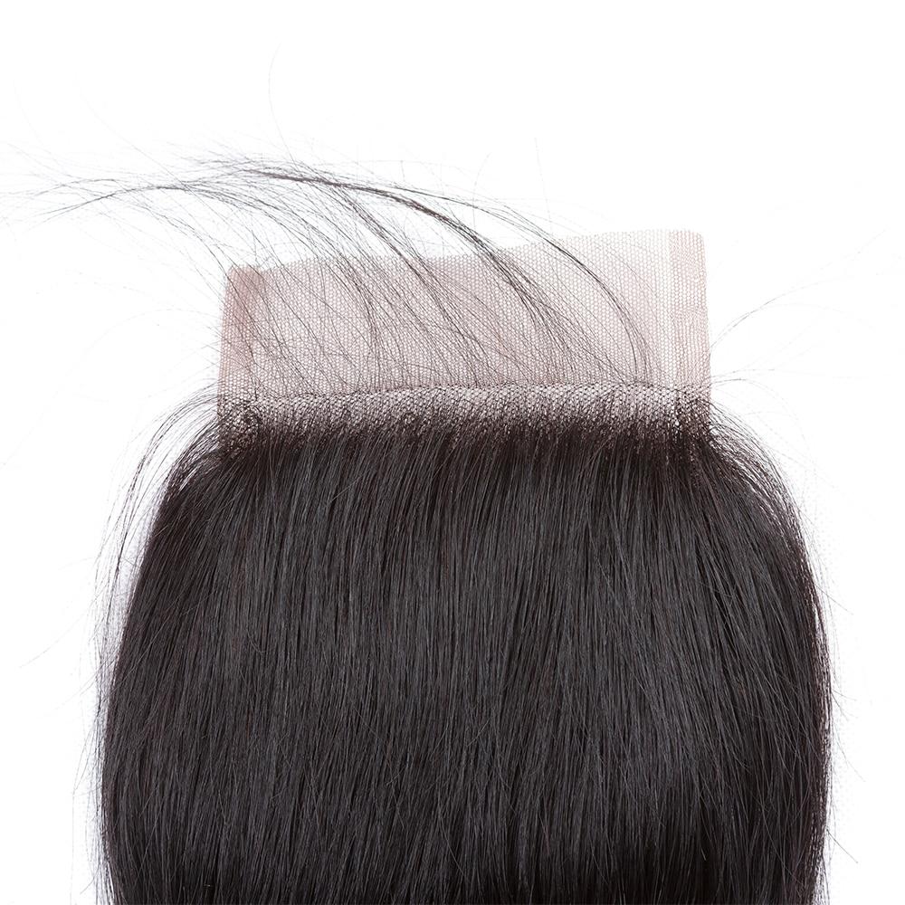 4x4 švicarske čipke srednji del perujske zaprtje naravnost remi - Človeški lasje (za črne) - Fotografija 3