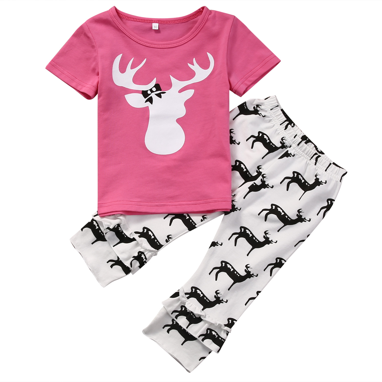 2PCS Newborn Infant Baby Girls Deer Short Sleeve Pink T-shirt Tops+Long Pants Leggings Outfits Set Clothes infant newborn baby girls clothes set hooded tops long sleeve t shirt floral long leggings outfit children clothing autumn 2pcs