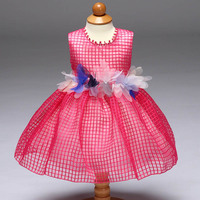 Wholesale 5 pcs/lot 4 Color 2017 New Grid   Flower     Girl     Dresses   For Baby   Girl     Dress   Party   Dress   Cute Ball Gown L9062XZ