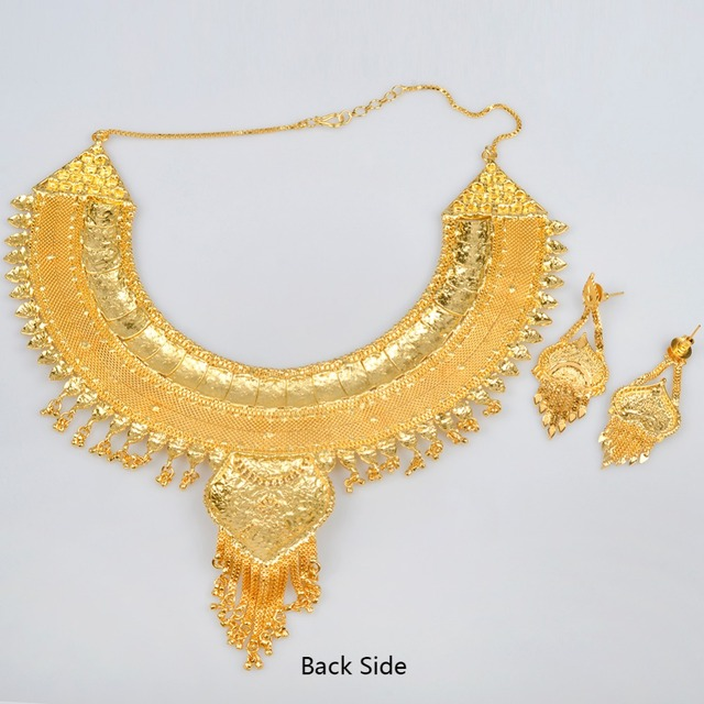 Anniyo African Women Jewelry Set Gold Color & Copper Necklace Earrings Sets Arab/Middle East/Ethiopian Bridal Gifts #012923