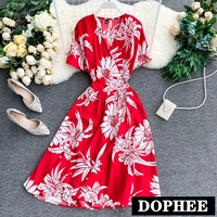 Womens Dresses New Arrival 2019 Chiffon Print Dress V neck Short sleeved Summer Elegant Big Floral Women Dress Summer