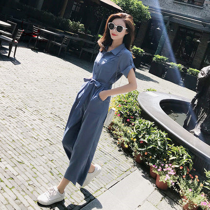 Casual jumpsuit spring summer 2019 new loose fitting jumpsuit 9 points chiffon wide leg pants high waisted draping suit in Jumpsuits from Women 39 s Clothing
