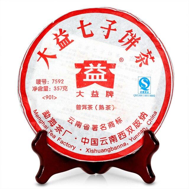 100% Настоящая мэнхайская фабрика ДА И пуэр у Олега без подделки.бренд пуэра в Китае в 2009 7592 пуэр шу чай 357 г 901 партия