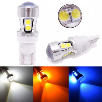 10pcs T10 194 W5W 10 SMD 3030 Canbus OBC Error Free Bulbs Interior LED DRL Car lamps External Auto Lights Xenon White Amber lens