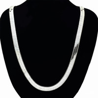 10MM Wide 75cm Heavy Flat Snake Chain Necklace Gold Tone Silver Tone Plated Classic Men S