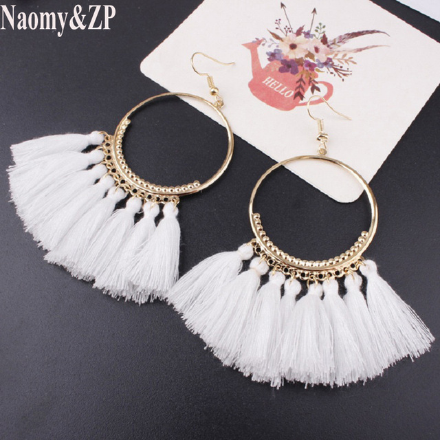 Naomy&ZP Vintage Bohemian Handmade Cotton Tassel Earrings for Women Long Big Ethnic Fringe Drop Earrings Party Jewelry Bijoux