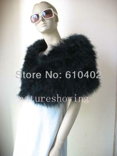 Originální skutečné pštrosí peří kožešinové zábal / pláště svatební zábaly / nový styl / černá 3 #