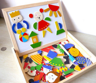 Multifunctional Wood Family Farm Animals City Magnetic Puzzle Magic Cubes Easel Double Sides Drawing Board Kids Toy For Children цена