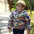 Осень зима детская одежда Мультфильм стеганые верхняя одежда С Капюшоном куртки мальчиков девушки пуховик Для 2 до 9 лет, чтобы носить