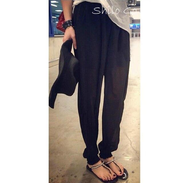 ГОРЯЧАЯ Бесплатная доставка лето способа высокого качества женщин Корейский прилив большие дворы свободно шифон шаровары брюки новые случайные штаны шаровары брюки