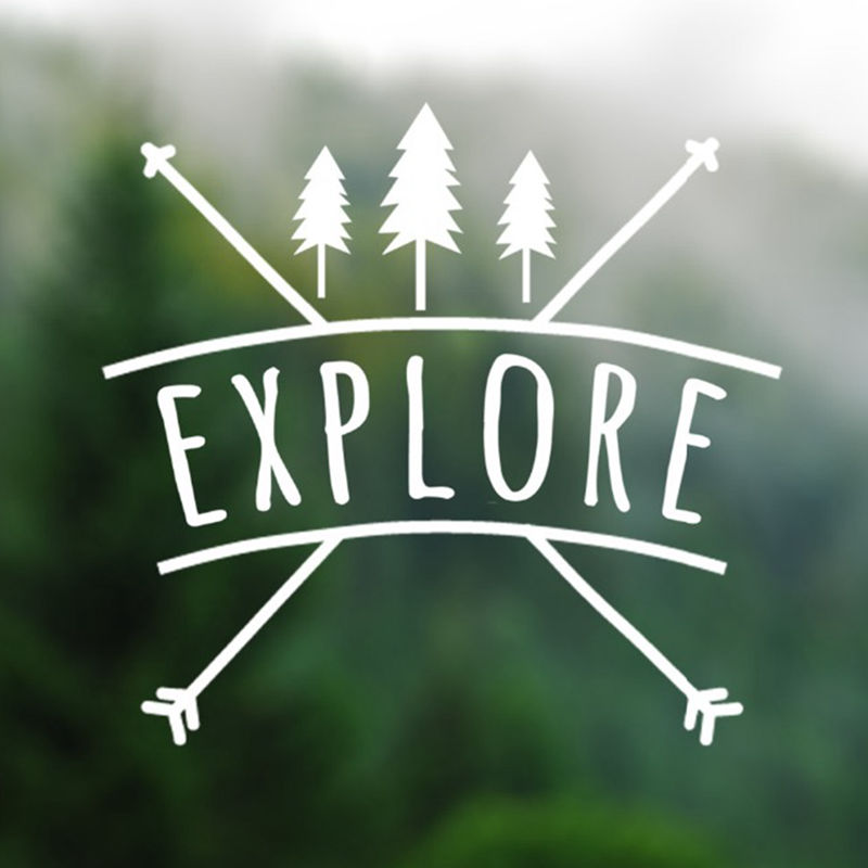 BRAND NEW Explore With Arrow Decal Wilderness Hiking Car Truck SUV Wall Sticker