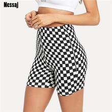High Waist Shorts Checkerboard Skinny Short Pants SF