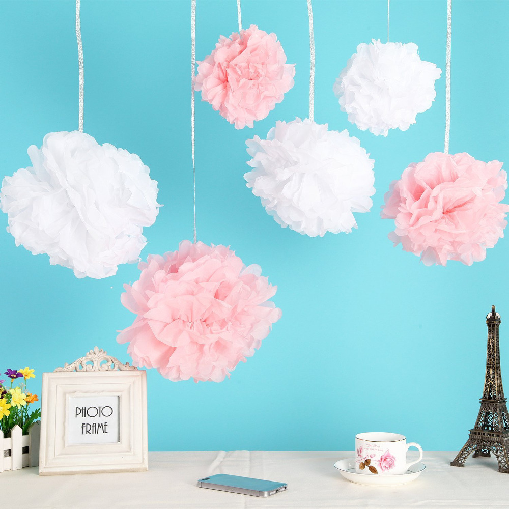 6 Pack 12inch Tissue Paper Flowers Crafts White And Pink Pom Poms