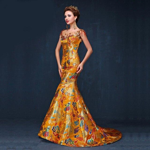 2016 elegante Luxus Gelb Cheongsam Chinesisches Traditionelles Kleid ...