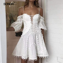 SONDR 2019 Fashion Strap Off The Shoulder Women White Beach Holiday A-line Dress