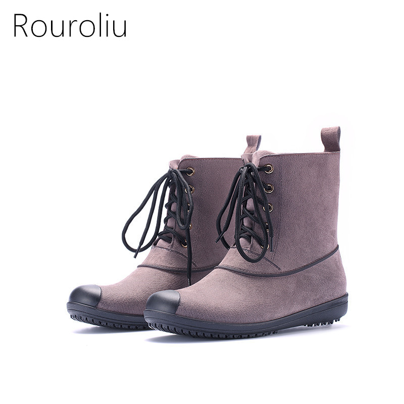 Rouroliu Women Mid-calf Short Rain Boots Non-slip Waterproof Fabric Water Shoes Woman Warm Wellies Lace-Up Boots RT334