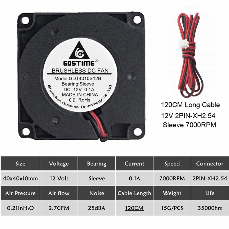 2 шт. Gdstime 40 мм 3d принтер вентилятор 12 в 24 в 5 В 4010 вентилятор для принтера охлаждающие аксессуары DC турбо вентилятор Радиальные Вентиляторы 40x40x10 мм - Цвет лезвия: 12V Sleeve Long Wire