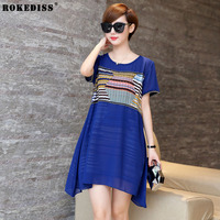 ROKEDISS Fashion Female Summer Style A Line Short Sleeves Summer Dress Women Hollow Out Lace Sexy