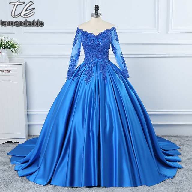 78ea79f0f2 Long Sleeves Lace/Satin Ball Gowns Long Sleeves Eye-catching Off the  Shoulder Wedding Dress Blue Bridal Gown New Arrival