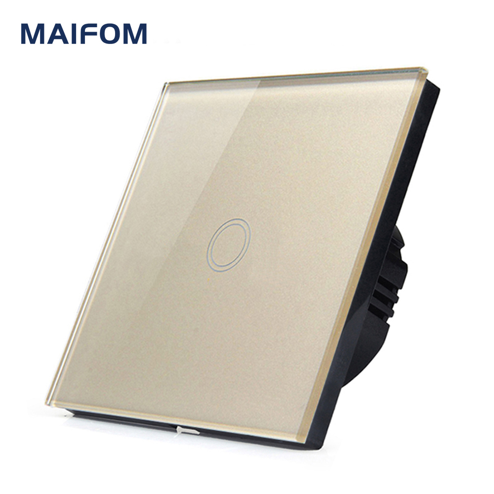 MAIFOM 86*86MM Wall Touch Switch Crystal Glass Panel Home Switch Waterproof Fireproof Free Shipping Sensor Light Switch eu us smart home remote touch switch 1 gang 1 way itead sonoff crystal glass panel touch switch touch switch wifi led backlight