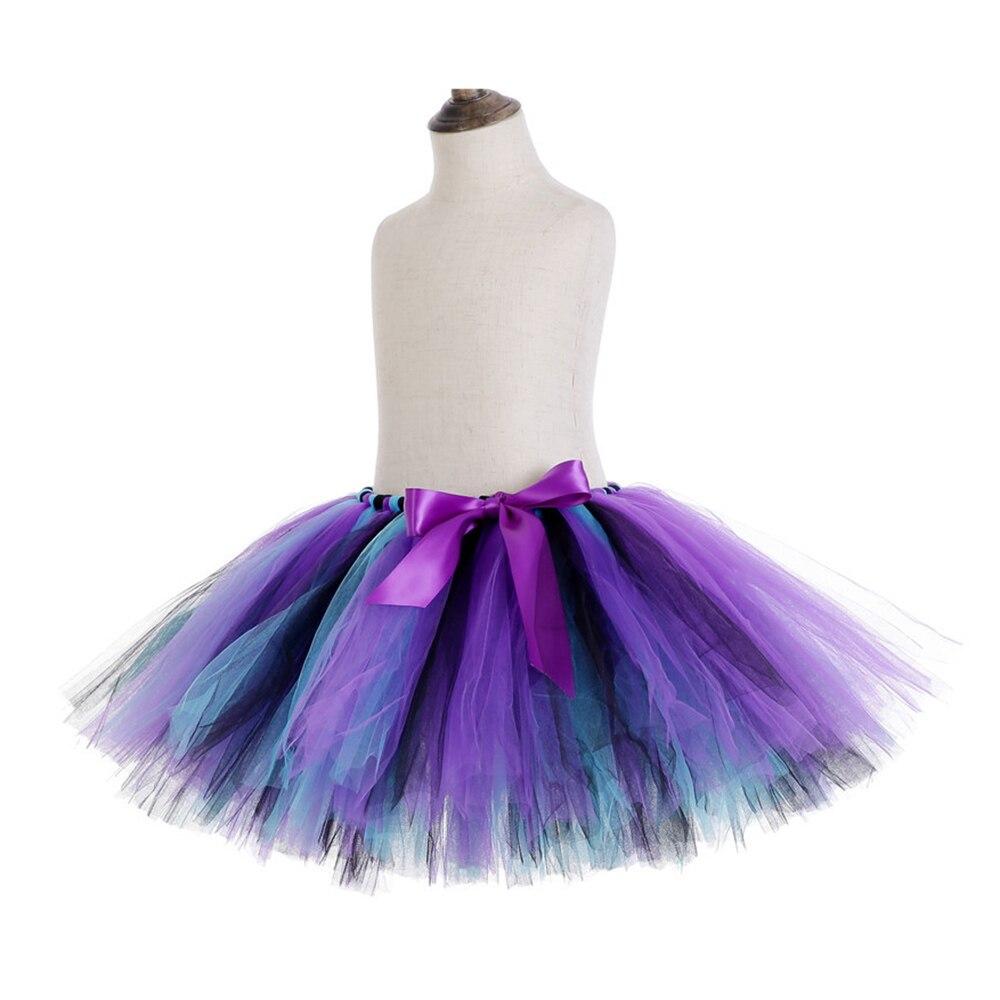 Rainbow Skirt Knee Length Nylon Mesh Tulle Skirt Kids Back to School Costume Happy Easter Party Tutu Skirt with Ribbon Bowknot (7)