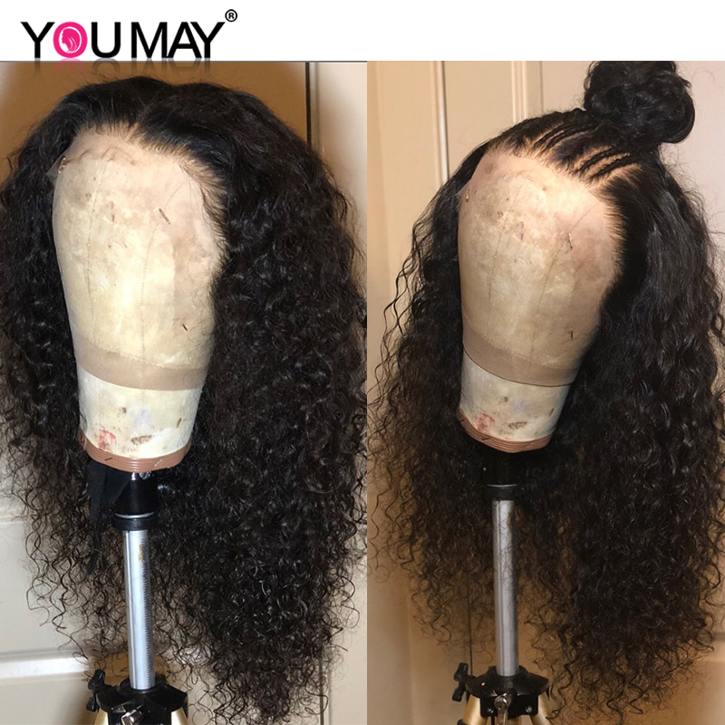 250 Density Brazilian Curly Human Hair Wigs Pre Plucked Baby Hair Fake Scalp 13X6 Curly Lace Front Wigs For Women You May Remy