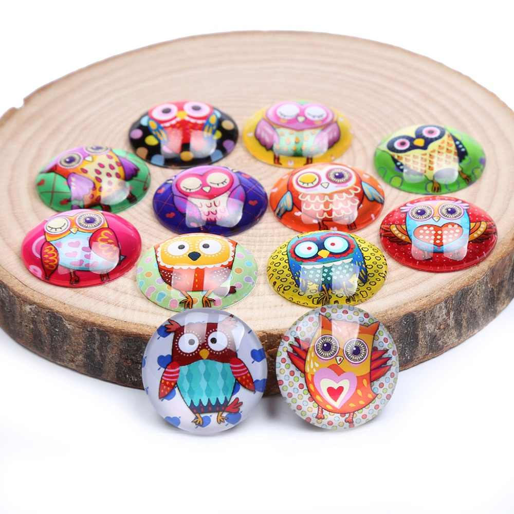 reidgaller mixed cartoon owl photo round glass cabochons 12mm 20mm 25mm diy jewelry making accessories