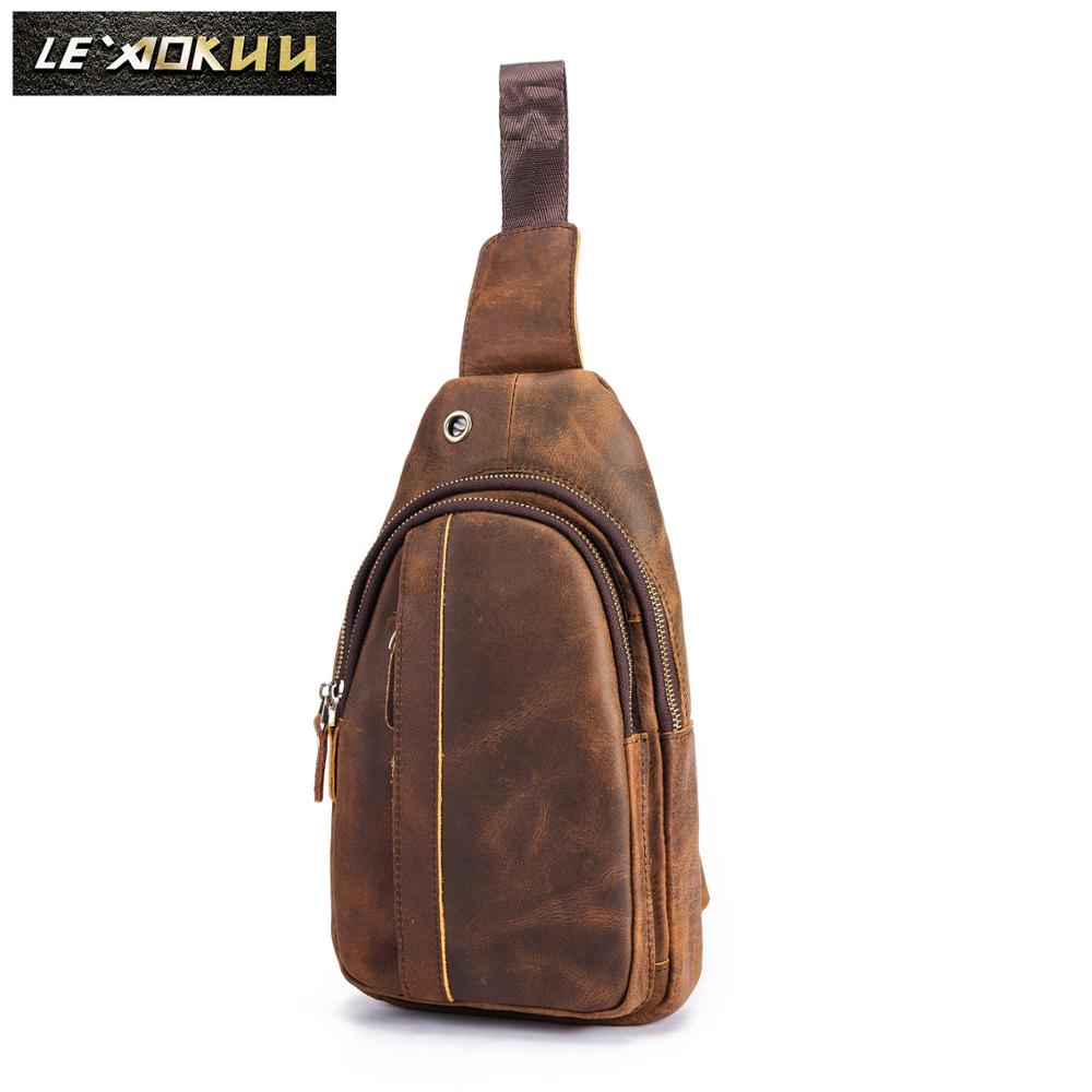 Top Quality Men Leather Casual Fashion Travel Chest Pack Sling Bag Design Triangle One Shoulder Cross Body Bag Daypack XB010d