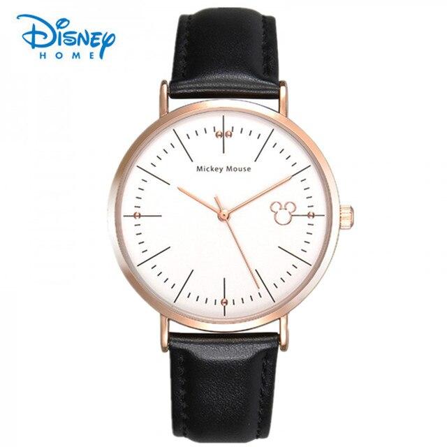 100% Подлинная Disney бренда кварцевые часы Повседневная Мода Кожа часы masculino reloj мужчины женщины часы Бизнес Спорт Наручные Часы