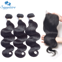 Sapphire Body Wave With Lace Closure 3 Bundles Brazilian Body Wave Virgin Hair With Closure 100% Human Hair Weave For Hair Salon