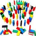 Barato-juguetes 120 unids montessori de madera de aprendizaje Bloques de dominó de madera montessori de madera juguetes para niños juguetes educativos del bebé
