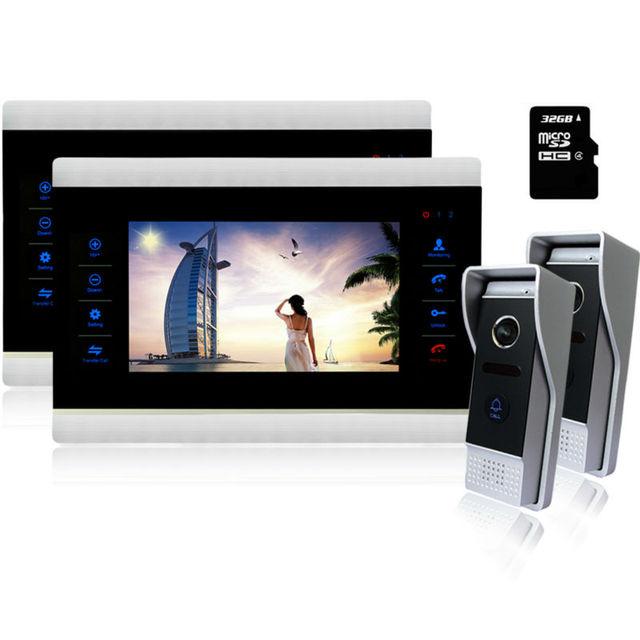 "Homefong  10"" Video Door Intercom Door Phone Recording Doorbell Camera Intercom 10Inch 1200TVL HD Monitor Support WITH SD"