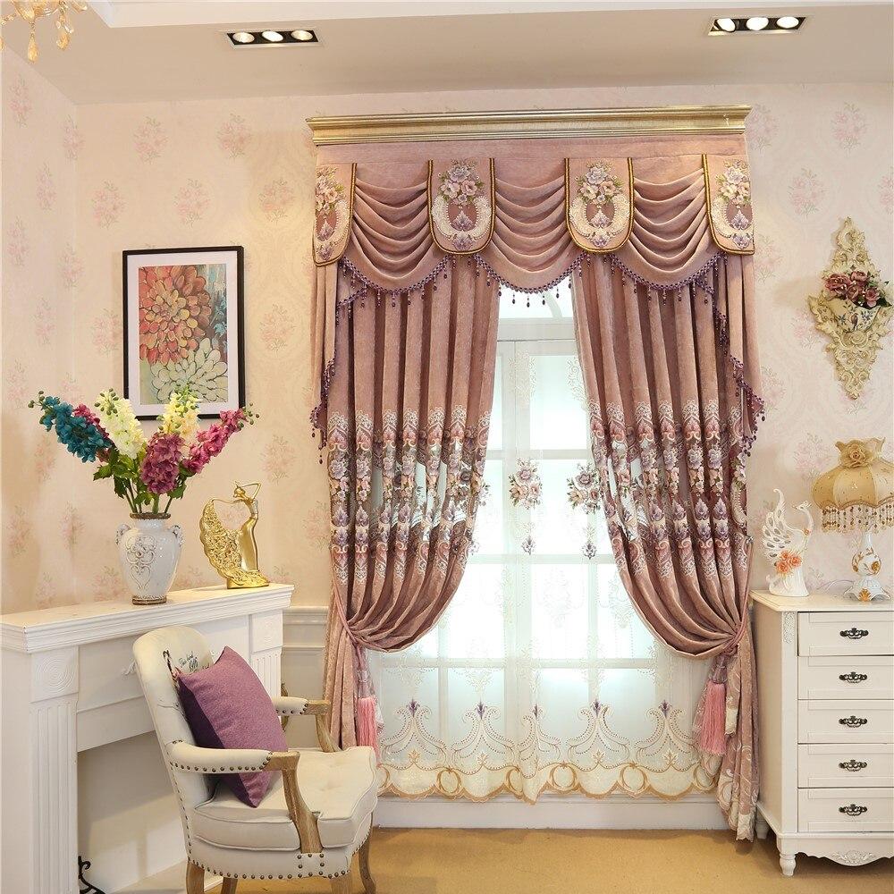 거실 침실 평면 창에 100 % 코튼 유럽의 고급 분홍색 장식 전체 그늘 자수 바닥 커튼