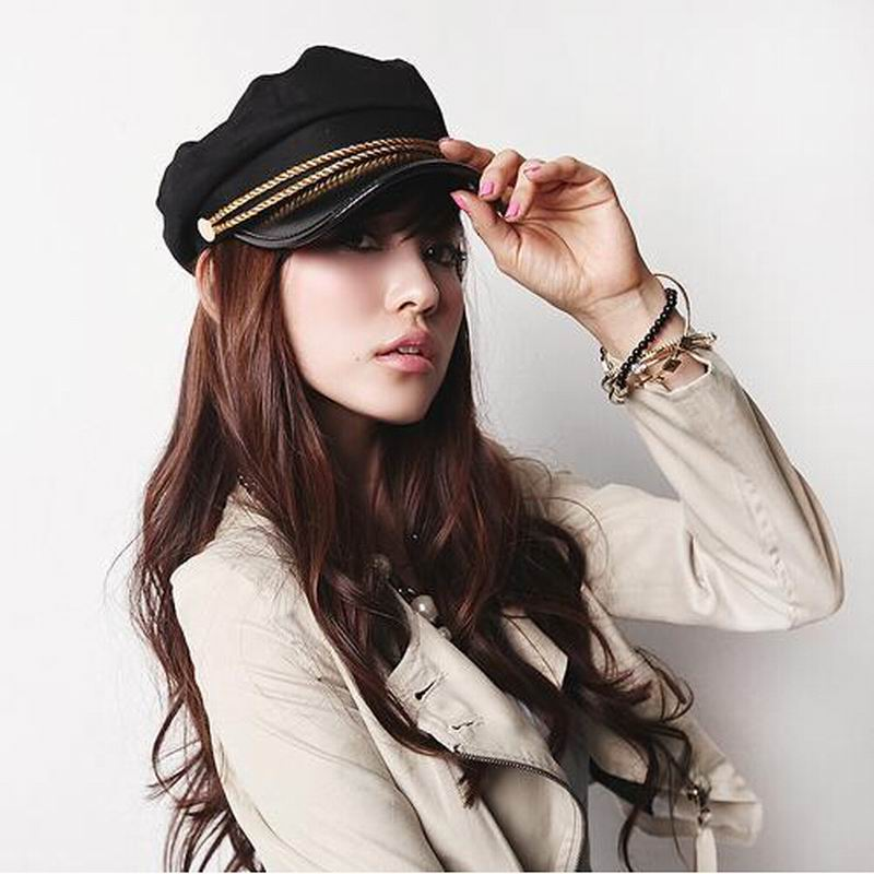 2018 New Fashion Sailor Ship Boat Captain Military Hats Peaked Cap Black Baseball Caps Flat Hat for Women Berets