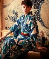 Traditional Japan Male Kimono suit Luxury Men's Bathrobe Yukata Male Sexy Nightgown Lounge Robes Kimono cosplay Costumes A60612