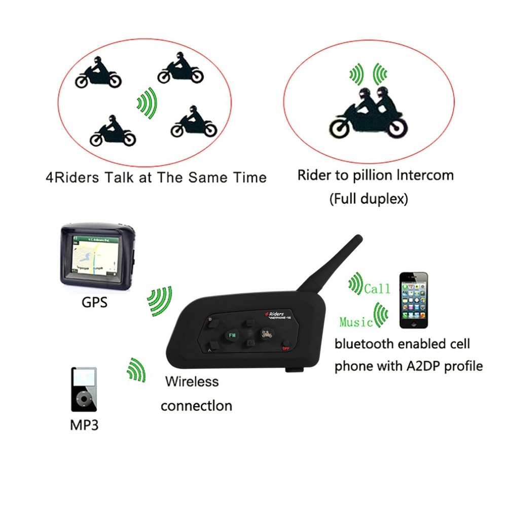 High Quality V4-1200M Bluetooth Motorcycle Helmet Interphone 4 Riders BT Walkie Talkie For Skiing Cycling Helmet 2pcs mini walkie talkie uhf interphone transceiver for kids use two way portable radio handled intercom free shipping