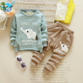 Kids Clothes Set Winter Baby Boys Cartoon Elephant Clothing Set Velvet Warm Long Sleeve T-Shirt+Pants Suit For Infant Boy