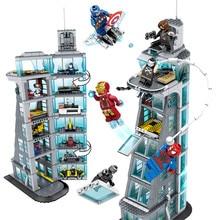 Sh678 المنتقمون برج 7th الطابق اللبنات مارفل سوبر أبطال أرقام متوافق Legoings الطوب المنتقم برج