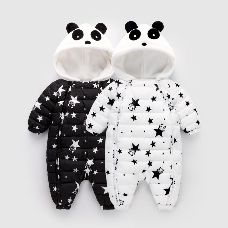 Winter Printing Star Panda Baby Rompers Overalls Body Clothes Jumpsuit Newborn Girl Boy Duck Down Snowsuit Kids Snow Wear