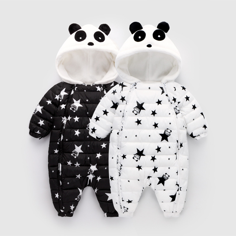 Winter Printing Star Panda Baby   Rompers   Overalls Body Clothes Jumpsuit Newborn Girl Boy Duck Down Snowsuit Kids Snow Wear