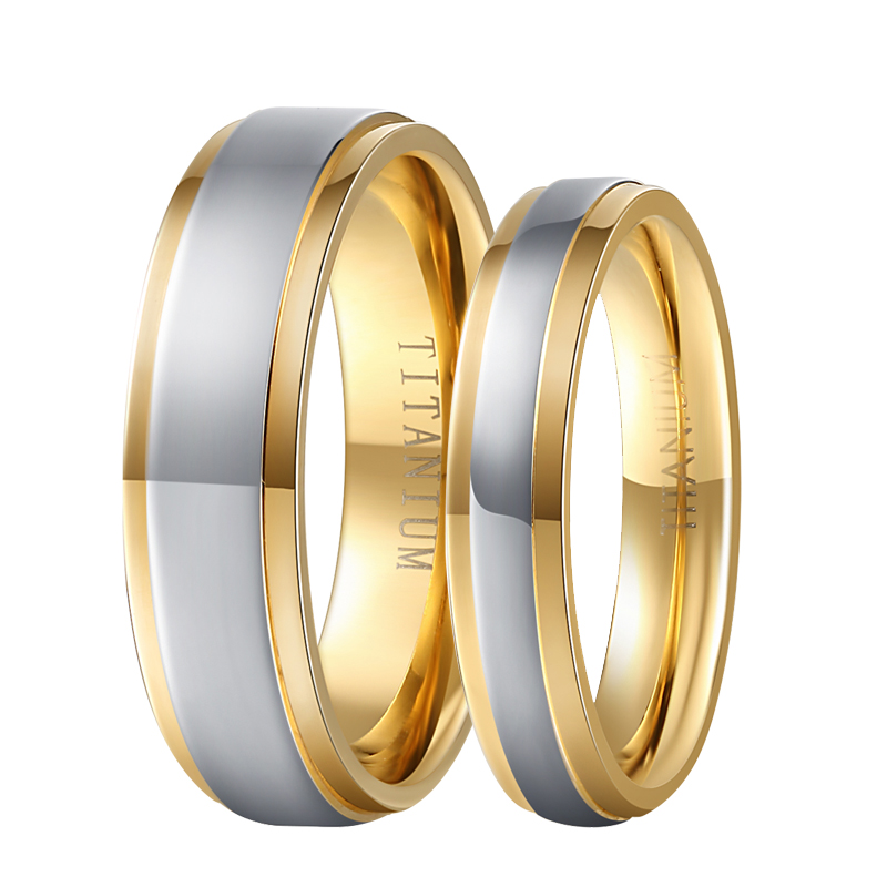 1 Pair Gold Color Couple Lover Fashion Jewelry Pure Titanium Wedding Engagement Band Ring Comfort Fit 6mm for Men 4mm for Women one piece sweet openwork footprint lover couple ring