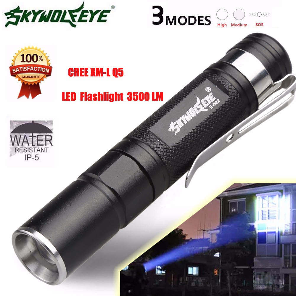 Mini 3500LM Zoomable Waterproof led flashlight torch 3 Mode Super Bright Light Lamp Lampe de poche alloy material