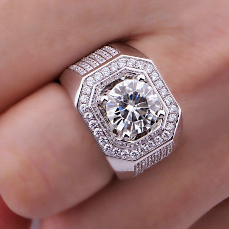 size 8 13 round solitarie free shipping 8mm aaa cubic zirconia simulated stones 10kt white gold filled wedding men ring gift - Mens Diamond Wedding Rings White Gold