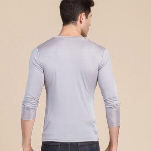 Image 4 - 男性の基本的な tシャツ 100% 天然シルク V ネックソリッドシャツ長袖トップメンズシルクトップ白黒グレー 2018 春夏新作