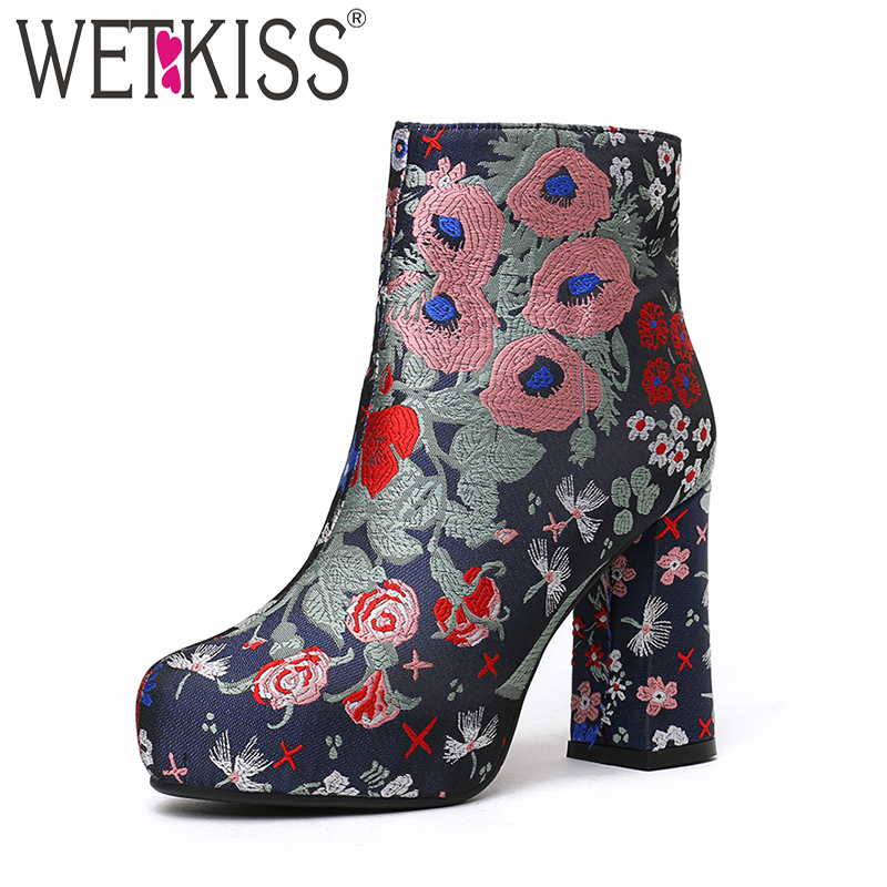 WETKISS Embroider Thick High Heels Women Boots Platform Autumn Zip High Neck Footwear Retro Bootie Warm Square Toe Shoes Woman