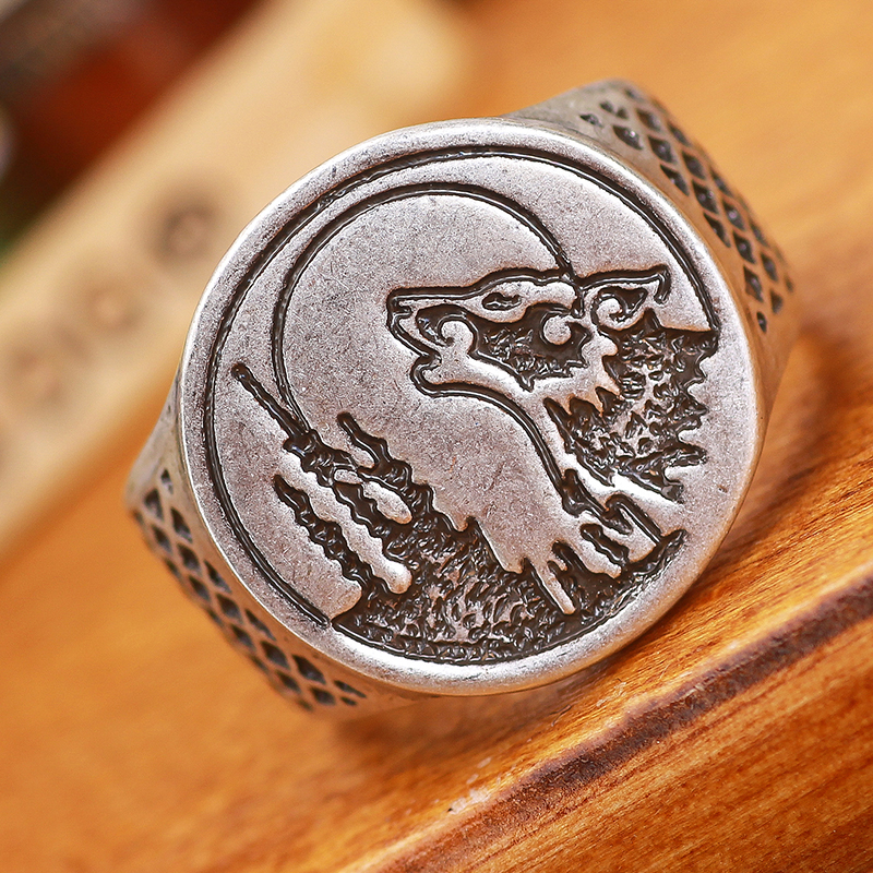 Mens Howling Wolf Ring Bague Men Timber wolves Wolf Ring Punk Bague Anel 5 pcs