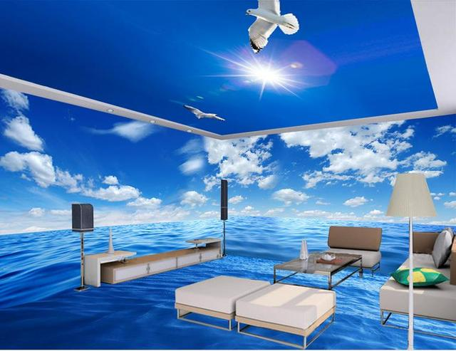Customized 3d Flooring Pvc Self Adhesive Wallpaper Whole House Sea Landscape Floor Mural Living
